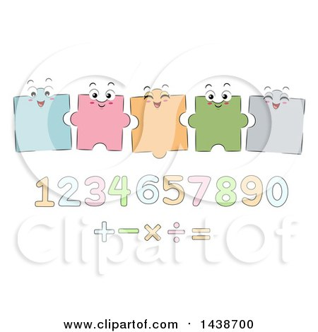 Clipart of a Group of Jigsaw Puzzle Pieces over Numbers and Mathematical Symbols - Royalty Free Vector Illustration by BNP Design Studio