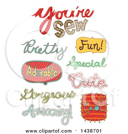 Clipart of Sewing Related Text Designs - Royalty Free Vector Illustration by BNP Design Studio
