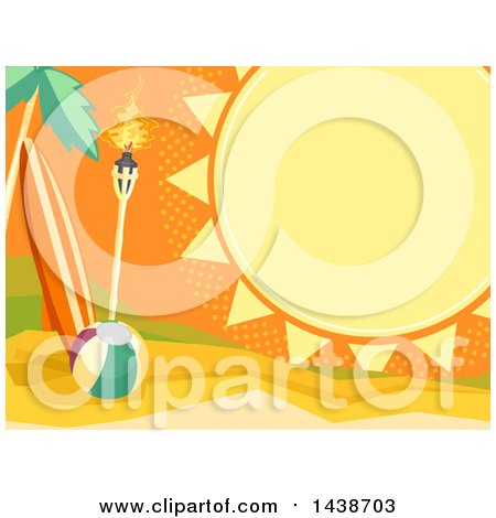 Clipart of a Summer Sun Frame with Text Space, over a Tropical Beach with a Surfboard, Tiki Torch and Ball - Royalty Free Vector Illustration by BNP Design Studio