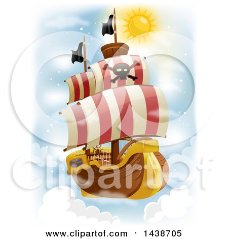 Clipart of a Flying Pirate Ship in the Sky - Royalty Free Vector Illustration by BNP Design Studio