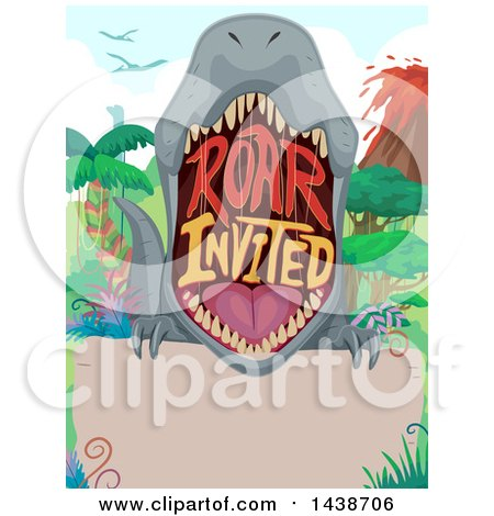Clipart of a Party Invitation with a Dinosaur Mouth and Roar Invited Text - Royalty Free Vector Illustration by BNP Design Studio