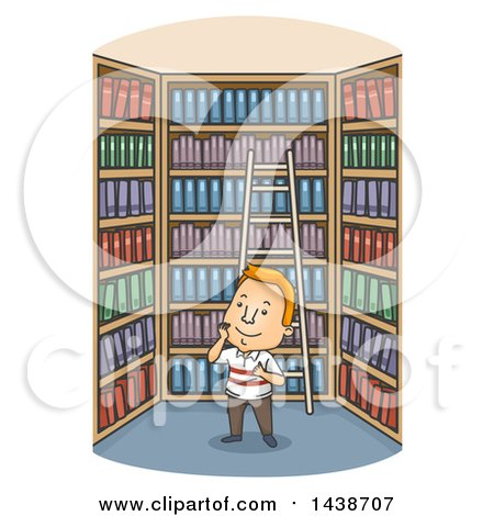 Clipart of a Cartoon Happy White Man in a Library - Royalty Free Vector Illustration by BNP Design Studio
