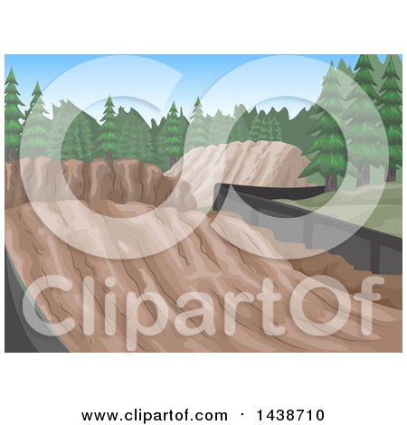 Clipart of Motorcross Race Tracks with Skid Marks and Evergreen Trees - Royalty Free Vector Illustration by BNP Design Studio