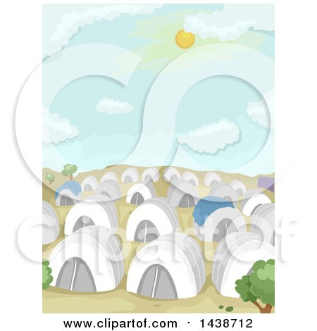 Clipart of a Refugee Camp with Tents in a Desert - Royalty Free Vector Illustration by BNP Design Studio