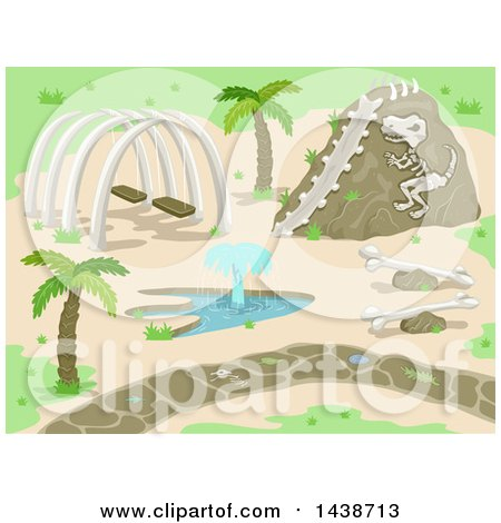 Clipart of a Prehistoric Park with Dinosaur Bones and a Fountain - Royalty Free Vector Illustration by BNP Design Studio