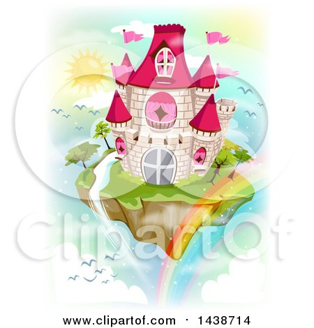 Clipart of a Floating Fairy Tale Islandw Ith a Castle, Waterfall and Rainbow - Royalty Free Vector Illustration by BNP Design Studio