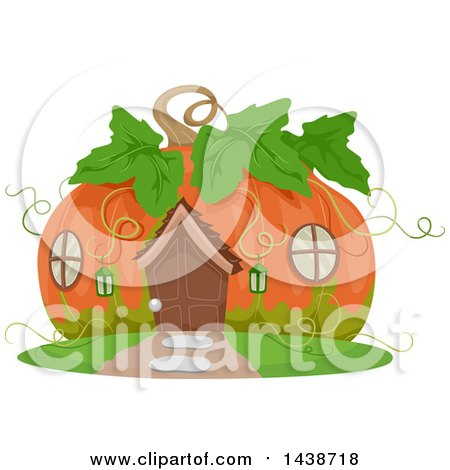 Clipart of a Cute Pumpkin Cottage - Royalty Free Vector Illustration by BNP Design Studio