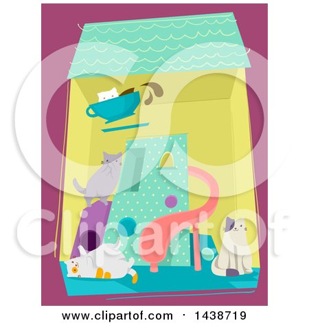 Clipart of a Cat Cafe with Playful Kitties Inside - Royalty Free Vector Illustration by BNP Design Studio