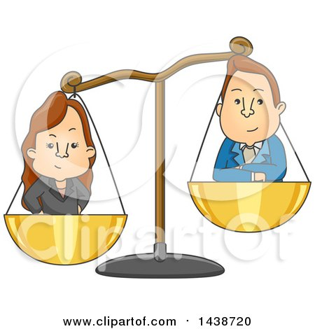 Clipart of a Cartoon Gender Conflict Graphic of a Man and Woman in Scales - Royalty Free Vector Illustration by BNP Design Studio