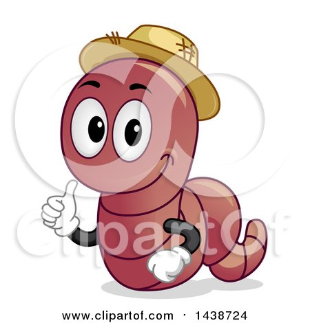 Clipart of a Happy Earthworm Mascot Giving a Thumb up - Royalty Free Vector Illustration by BNP Design Studio
