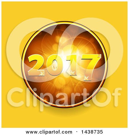 Clipart of a Golden New Year 2017 Design Inside a Circle of Flares over Yellow - Royalty Free Vector Illustration by elaineitalia