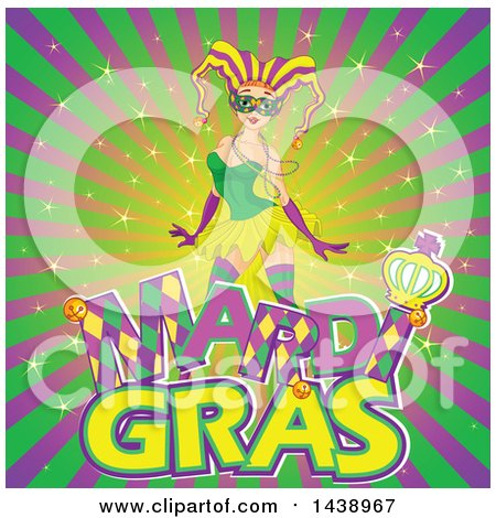 Clipart of a Mardi Gras Jester Woman over Text on a Burst - Royalty Free Vector Illustration by Pushkin