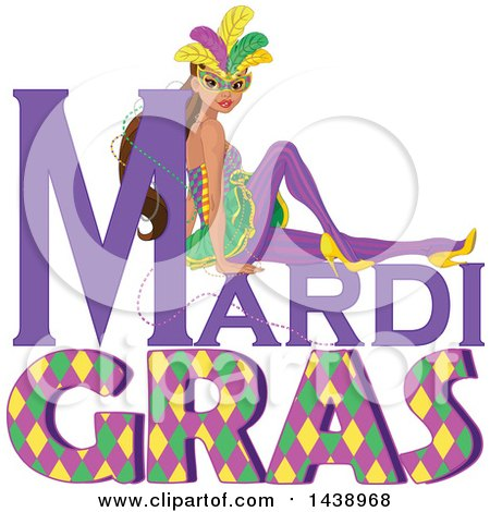 Clipart of a Mardi Gras Woman Wearing a Mask over Text - Royalty Free Vector Illustration by Pushkin