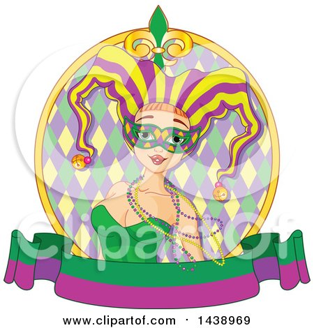 Clipart of a Mardi Gras Jester Woman Wearing Beads and a Mask in a Circle over a Banner - Royalty Free Vector Illustration by Pushkin