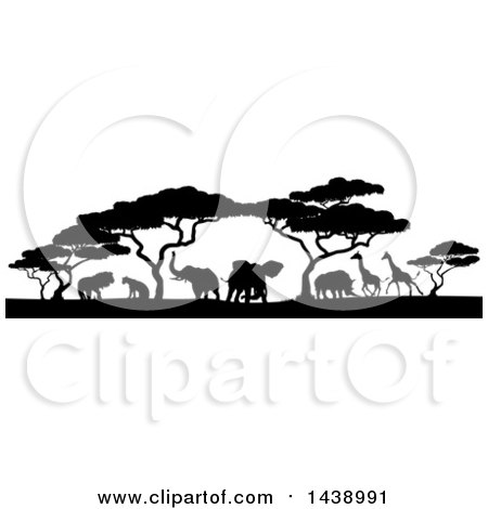 Clipart of a Safari Scene of Black Silhouetted African Animals, Giraffes, Rhinos, Elephants and Lions, Under Acacia Trees - Royalty Free Vector Illustration by AtStockIllustration