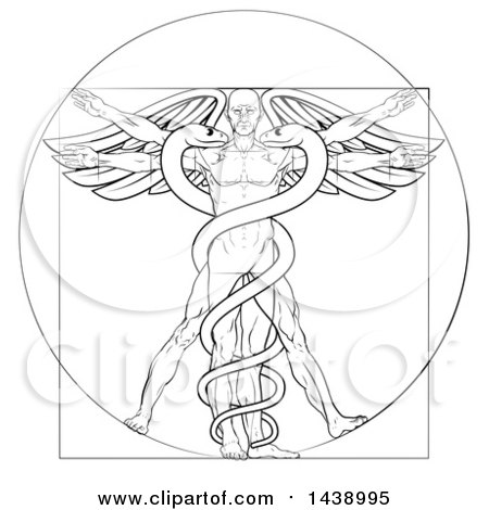 Clipart of a Black and White Da Vinci Vitruvian Man - Royalty Free ...