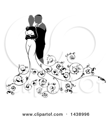 Clipart of a Black and White Silhouetted Posing Wedding Couple with Swirls - Royalty Free Vector Illustration by AtStockIllustration