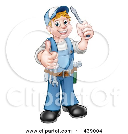 Clipart of a Cartoon Full Length Happy White Male Electrician Holding up a Screwdriver and Thumb - Royalty Free Vector Illustration by AtStockIllustration