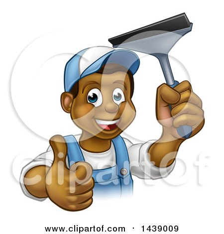 Clipart of a Cartoon Happy Black Male Window Cleaner in Blue, Giving a Thumb up and Holding a Squeegee - Royalty Free Vector Illustration by AtStockIllustration