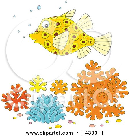 Clipart of a Cartoon Puffer Blow Fish over Corals - Royalty Free Vector Illustration by Alex Bannykh