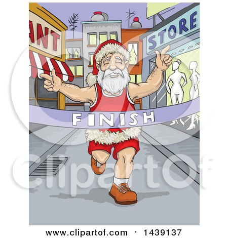 Clipart of a Runner Santa Breaking Through a Finish Line - Royalty Free Vector Illustration by David Rey