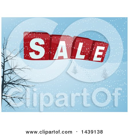Clipart of a Winter Landscape with 3d SALE Blocks and a Trail of Footprints in the Snow - Royalty Free Vector Illustration by elaineitalia