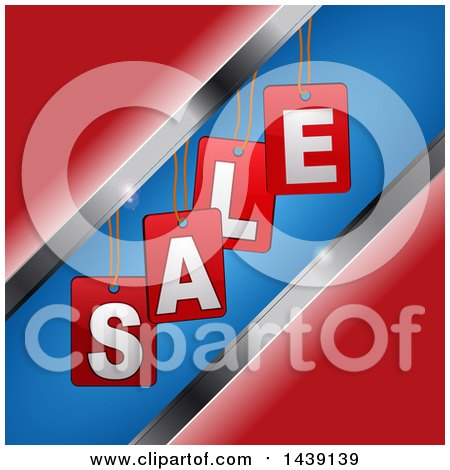 Clipart of Hanging Sale Tags over Red, Metal and Blue - Royalty Free Vector Illustration by elaineitalia