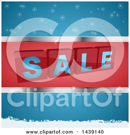 Clipart of 3d SALE Blocks in a Red and Silver Frame over Blue with Snowflakes - Royalty Free Vector Illustration by elaineitalia