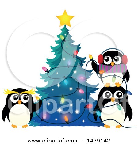 Clipart of a Festive Penguin Family Decorating a Christmas Tree - Royalty Free Vector Illustration by visekart