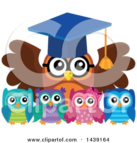 Clipart of a Professor Owl and Students - Royalty Free Vector Illustration by visekart