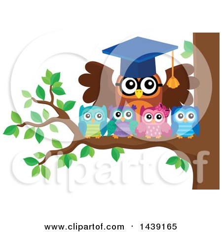 Clipart of a Professor Owl and Students on a Tree Branch - Royalty Free Vector Illustration by visekart