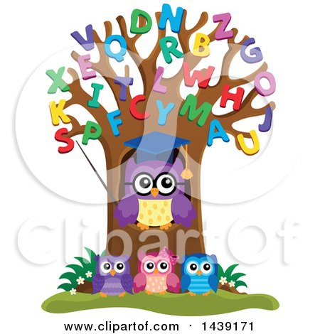 Clipart of a Professor Owl and Students in an Alphabet Tree - Royalty Free Vector Illustration by visekart