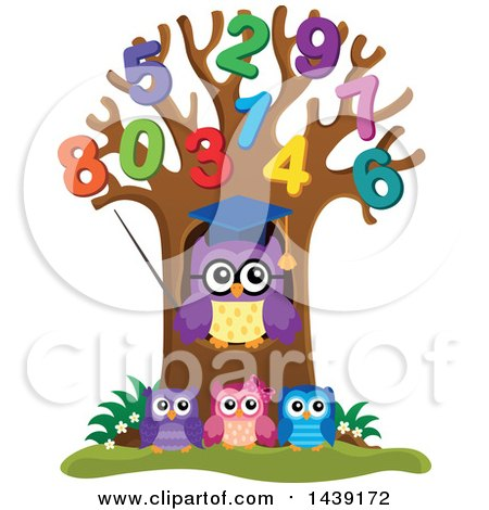 Clipart of a Professor Owl and Students in a Tree with Numbes - Royalty Free Vector Illustration by visekart