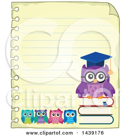 Clipart of a Sheet of Ruled School Paper with a Professor Owl and Students - Royalty Free Vector Illustration by visekart