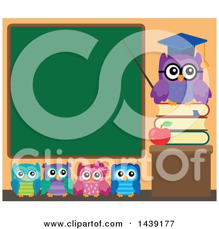 Clipart of a Professor Owl and Students in a Class Room, Pointing to a Chalkboard - Royalty Free Vector Illustration by visekart