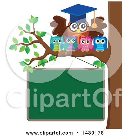 Clipart of a Professor Owl and Students on a Tree Branch over a Chalkboard - Royalty Free Vector Illustration by visekart