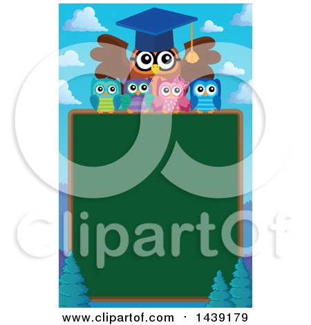 Clipart of a Professor Owl and Students over a Chalkboard and Mountains - Royalty Free Vector Illustration by visekart