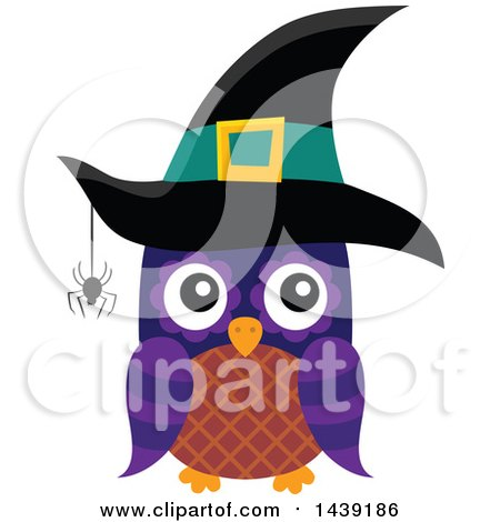 Clipart of a Brown and Purple Witch Owl with a Spider - Royalty Free Vector Illustration by visekart
