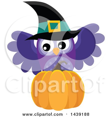 Clipart of a Purple Witch Owl and Pumpkin - Royalty Free Vector Illustration by visekart