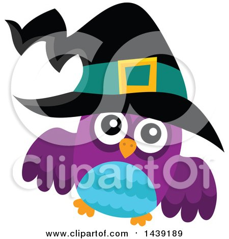 Clipart of a Blue and Purple Witch Owl - Royalty Free Vector Illustration by visekart
