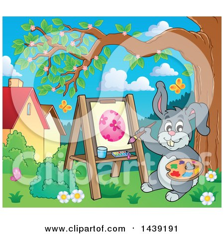 Happy Gray Easter Bunny Rabbit Painting an Egg on Canvas Posters, Art Prints