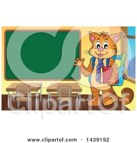Clipart of a Ginger Cat Student Waving by a Chalkboard - Royalty Free Vector Illustration by visekart
