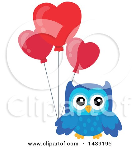 Clipart of a Blue Valentine Owl Holding Heart Balloons ...