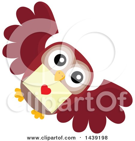 Clipart of a Valentine Owl Flying with a Love Letter ...