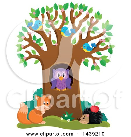 Clipart of a Spring Tree with Blossoms, Leaves, Birds, an Owl, Hedgehog and Fox - Royalty Free Vector Illustration by visekart