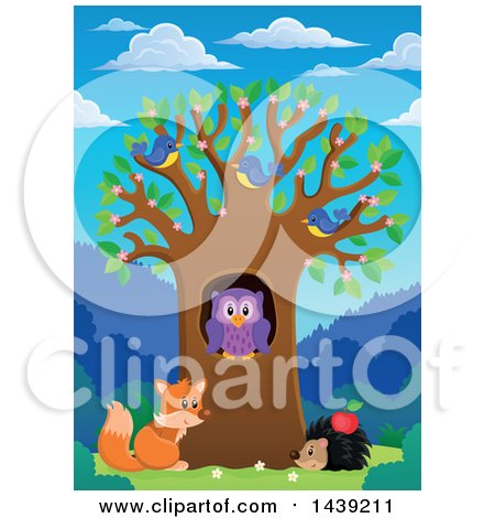 Clipart of a Spring Tree with Blossoms, Leaves, Birds, an Owl, Hedgehog and Fox on a Beautiful Day - Royalty Free Vector Illustration by visekart