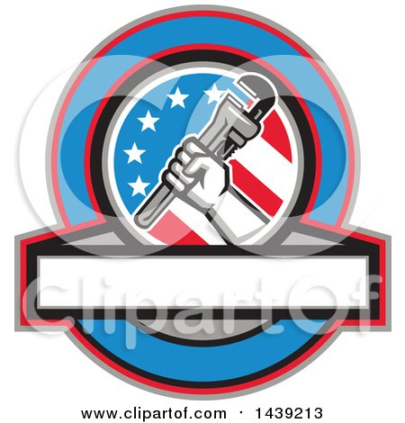Retro Plumber Hand Holding a Pipe Monkey Wrench in an American Circle over a Banner with Text Space Posters, Art Prints