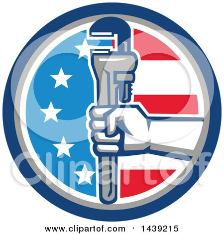 Retro Plumber Hand Holding a Pipe Monkey Wrench in an American Circle Posters, Art Prints