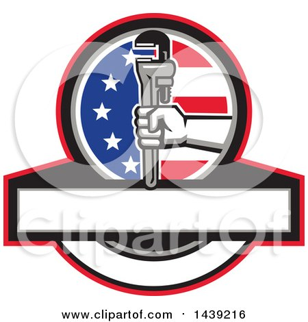 Retro Plumber Hand Holding a Pipe Monkey Wrench in an American Circle over a Banner with Copy Space Posters, Art Prints