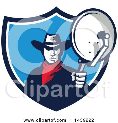 Clipart of a Retro Cowboy Holding and Aiming a Satellite Dish in a Crest - Royalty Free Vector Illustration by patrimonio
